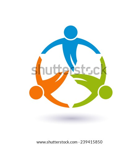 Teamwork in a round logo. Group of 3 people Vector design - stock vector