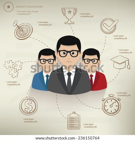Teamwork,info graphic design on old paper background,clean vector - stock vector