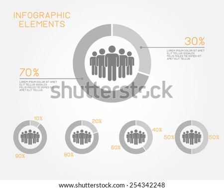 teamwork infographic elements pie chart network population people pictogram vector template - stock vector
