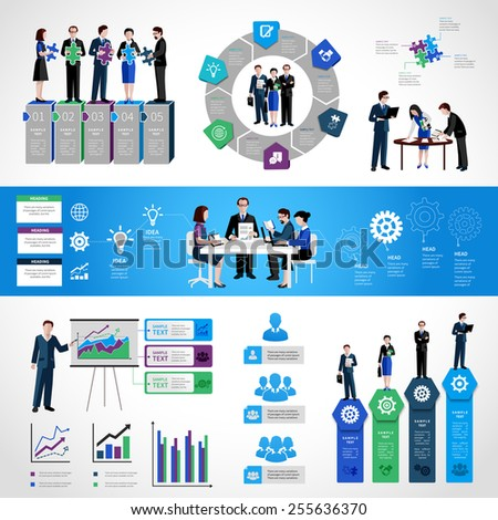 Teamwork infographic set with business people on conference meeting discussion symbols and charts vector illustration - stock vector