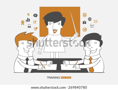 Teamwork infographics background.Concept design business training. People  surrounded interface icons. - stock vector