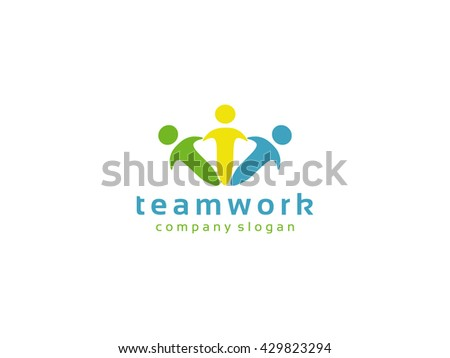 Teamwork Logo,People Team Community Partners logo template.