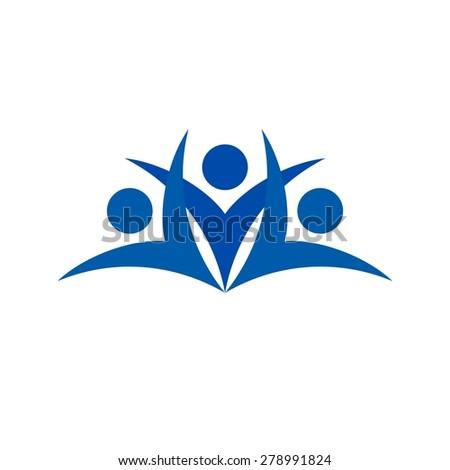 Teamwork logo with swoosh graphic element - stock vector