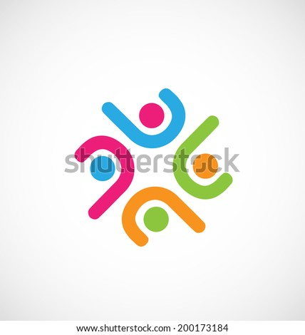 Teamwork meeting people vector icon - stock vector