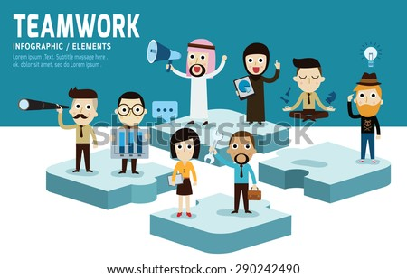 Teamworkmodern character flat design of unity.isolated on blue and white background.graphic vector illustration. the best team concept. - stock vector