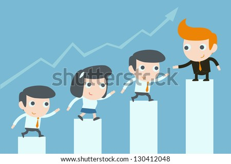 teamwork of business people - stock vector
