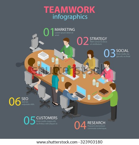 Teamwork office staff meeting room table brainstorming flat 3d isometric style thematic infographics concept. Marketing strategy SEO research info graphic. Conceptual web site infographic collection. - stock vector