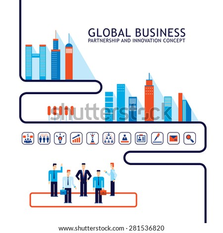 Teamwork Partnership concept Successful business people City social network infographic  - stock vector