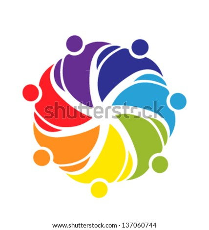 Teamwork people cooperation icon vector - stock vector