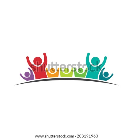 Teamwork People logo Seven Friends image. Concept of Group of People, happy team, victory,coaching.Vector icon - stock vector