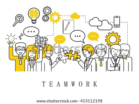 Teamwork, People Team - On White Background - Vector Illustration, Graphic Design. For Web,Websites,Magazine Page,Print Materials