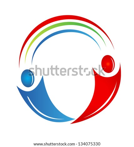 Teamwork people with connections icon vector design - stock vector