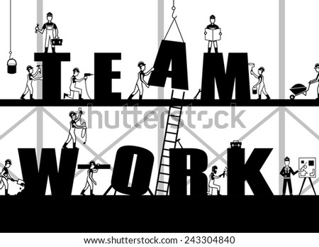 Teamwork poster with construction process and black builder people silhouettes vector illustration - stock vector