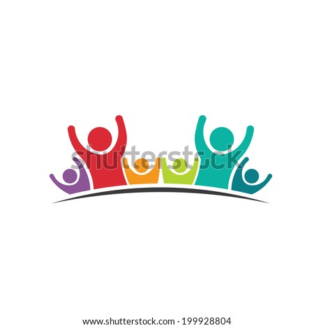 Teamwork Six Friends image. Concept of Group of People, happy team, victory.Vector icon - stock vector