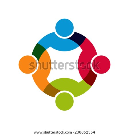 Teamwork Social Network, Group of 4 people business relationship and collaboration. Vector design - stock vector