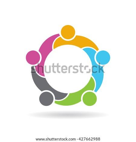 Teamwork social network logo. Vector graphic design - stock vector