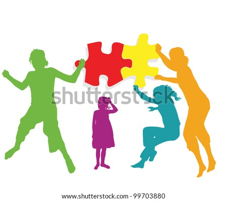 Teamwork solution background vector. Kids making together colorful jigsaw puzzle - stock vector