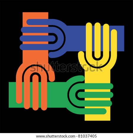 Teamwork symbol - circle of hands, chain, vector