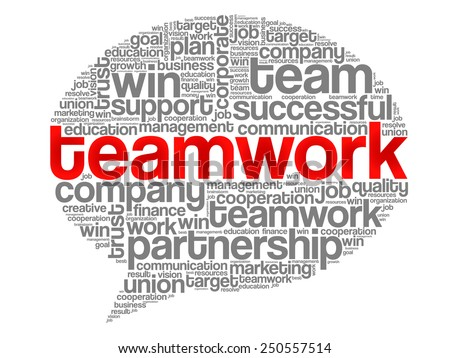 TEAMWORK Think Bubble word cloud, business concept - stock vector