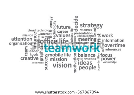 Teamwork - Typography graphic work, consisting of important words and concepts in the business world.