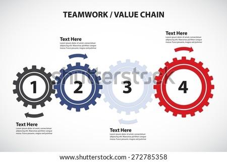 Teamwork / Value Chain - 4 Cogwheels with Arrows, Vector Infographic - stock vector
