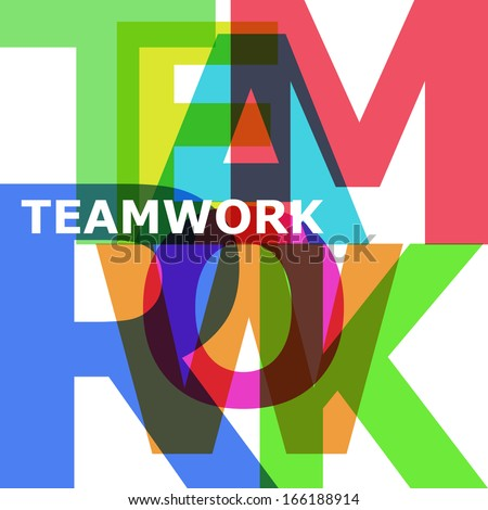 Teamwork - vector abstract color text - stock vector