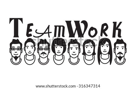 Teamwork vector avatars