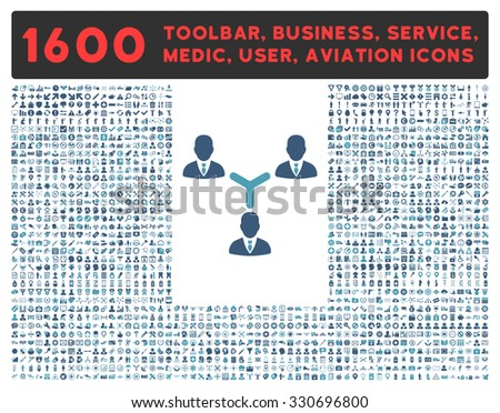 Teamwork vector icon and 1600 other business, service tools, medical care, software toolbar, web interface pictograms. Style is bicolor flat symbols, cyan and blue colors, rounded angles, white - stock vector