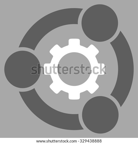 Teamwork vector icon. Style is bicolor flat symbol, dark gray and white colors, rounded angles, silver background.