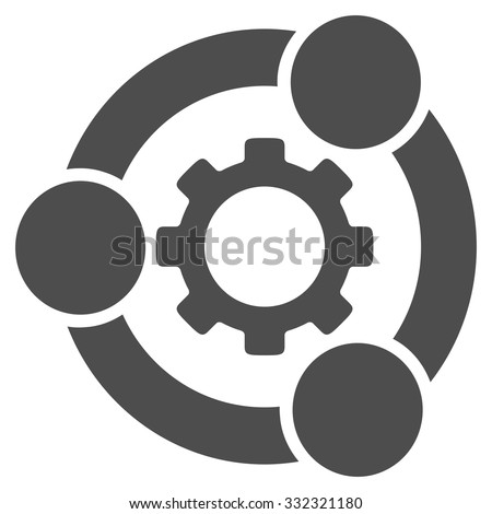 Teamwork vector icon. Style is flat symbol, gray color, rounded angles, white background. - stock vector