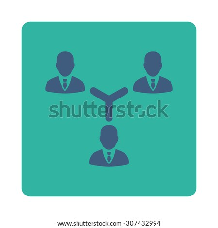 Teamwork vector icon. This flat rounded square button uses cobalt and cyan colors and isolated on a white background. - stock vector