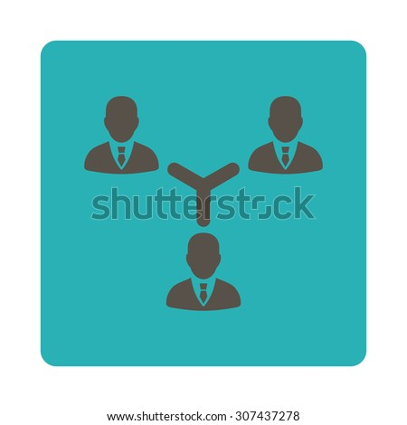 Teamwork vector icon. This flat rounded square button uses grey and cyan colors and isolated on a white background. - stock vector