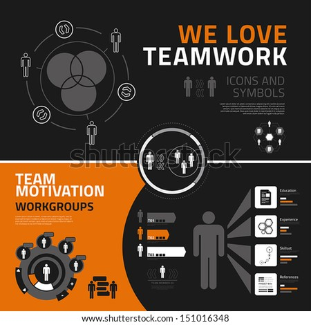 Teamwork vector infographics elements for business reports and presentations - stock vector