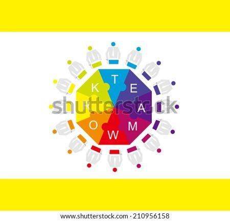 Teamwork: Work together - stock vector
