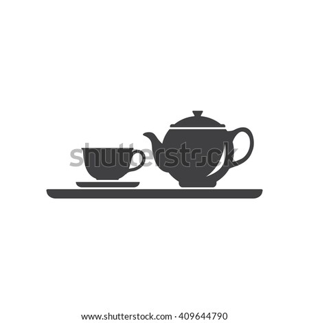Teapot and cup. Vector silhouettes on a white background. Teacup icon. - stock vector