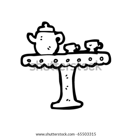 teapot and cups on stand - stock vector