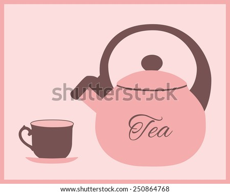 Teapot and teacup in pink and brown color. Vector illustration. - stock vector