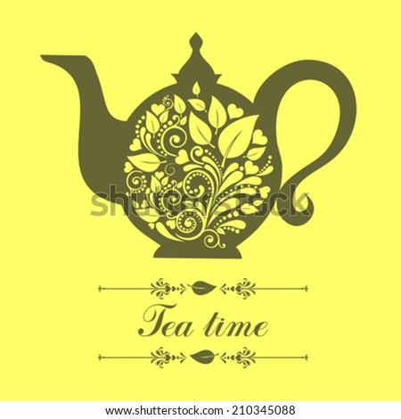 Teapot. Beautiful background with teapot and place for your text. Menu for restaurant, cafe, bar, tea-house. Vector illustration  - stock vector