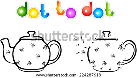 Teapot first dot to dot coloring book. Vector illustration for children - stock vector