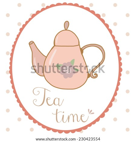 Teapot hand drawn shabby chic style vector