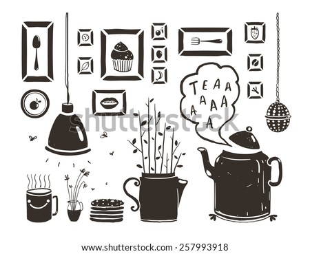 Teapot Lamp Vase Kitchen Still Life Art Frames on White. Tea-drinking black and white rustic design elements. Vector EPS10. - stock vector