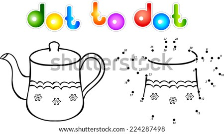 Teapot second dot to dot coloring book. Vector illustration for children - stock vector