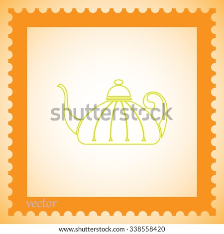 Teapot , tea kettle vector icon.