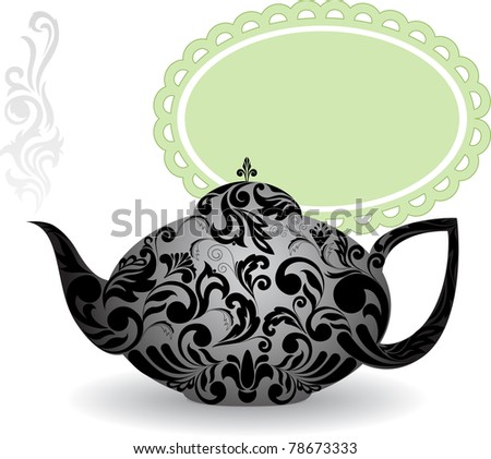 teapot with a beautiful ornament and clouds of steam - stock vector