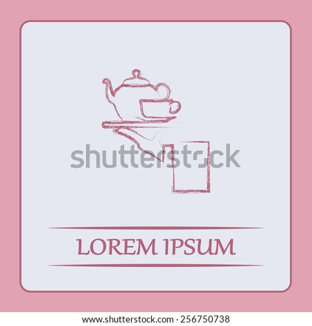Teapot with cup in hand on the sweeping rebuke. Vector illustration - stock vector