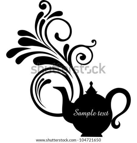 Teapot with floral design elements.Teapot silhouette isolated on White background. Restaurant menu or Invitation. Vector illustration - stock vector
