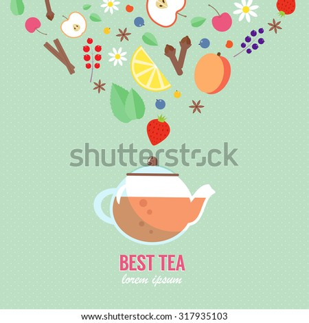 Teapot with fruits, berries and spice elements on polka dot background. Vector concept in flat style perfectly for magazines, posters, flyers and restaurant newsletters. Simple cooking infographic.