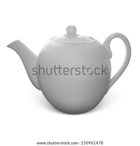 Teapot with gold border isolated on white background made of gradient mesh - stock vector