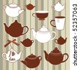 Teapots and cups seamless background - stock vector