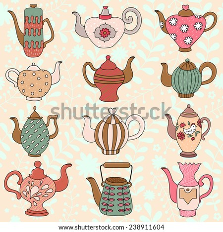 Teapots with doodle elements  flowers, hearts, in cartoon style.  Seamless retro design tea pot pattern background in vector - stock vector